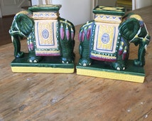Vintage Pair of Chinoiserie Ceramic Elephant Bookends Decorative Figurines Minature Garden Stools