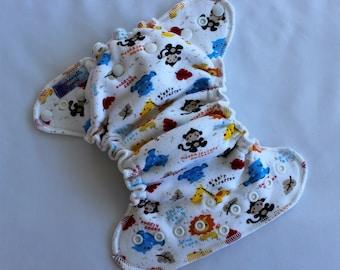 Cloth Diaper, Newborn Fitted Cloth Diaper, Zoo Toss Print, Newborn Cloth Baby Diaper