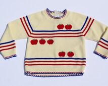 70s Vintage Apple Sweater, Size 12-24 Months - Vintage Kids Clothes- Vintage Toddler Clothes- Vintage Toddler Sweater - Vintage Kids Sweater
