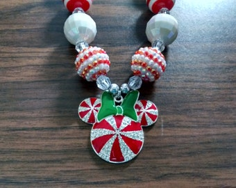 Mouse Inspired Peppermint Swirl Christmas Toddler Rhinestone Bubblegum Necklace