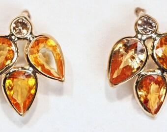 14K Yellow Gold Orange Sapphire (3.0ct) and Diamond (0.10ct) Earrings