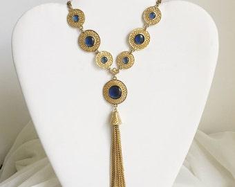Bubbly Blue Tassel Necklace