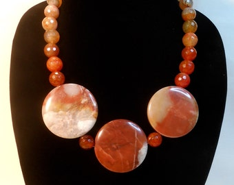 Bold exotic one of a kind semi precious sandstone and brown imperial jasper necklace.
