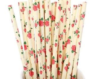 Beige Flower Floral Paper Straws