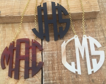 "Large 2.5"" Circle Monogram Acrylic Necklace - 3 Initial custom laser cut, 34+ colors"