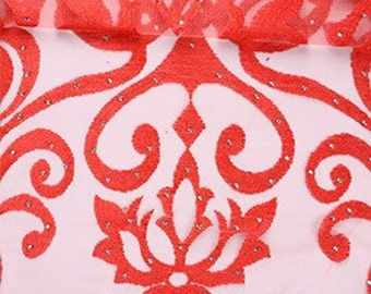 Red French Tulle Lace