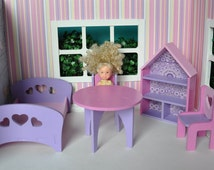 Dollhouse miniature furniture set for  small BJD : Lati Yellow, Pukifee, Riley and Helen Kish dolls,azone pico neemo, Kelly Shelly