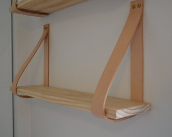 Natural Tan Leather Strap Shelf