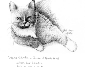 Cat Drawing, Cat Print, Cat Sketch