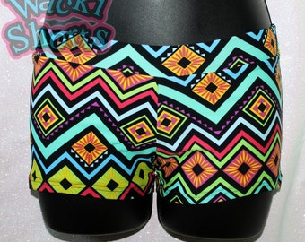 Rainbow Tribal - Aztec - Wacki Shorts  - Cheer, Gymnastics, Yoga, Dance