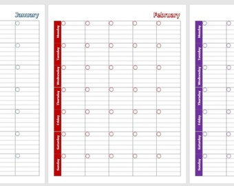 Month per Page 12 Month Portrait Calendar