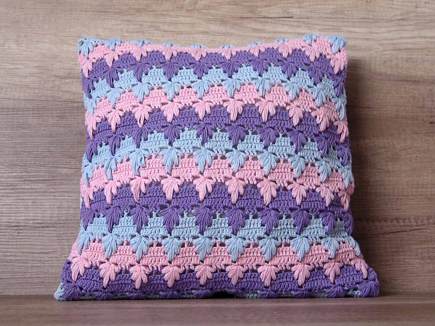 Cute Handmade Pillow Covers : Cute crochet cushion cover cool colorful pastel blue lilac