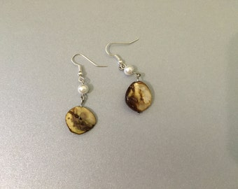 Stone and pearl earrings