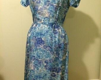Blue Floral Wiggle Dress
