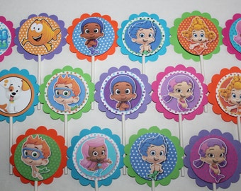 Bubble Guppies Inspired Cupcake Toppers