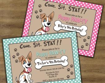 Puppy Birthday Invitation; Puppy Party Invitation; Puppy Invitation; Puppy Themed Birthday; Dog Birthday Invitation; Dog Party Invitation;