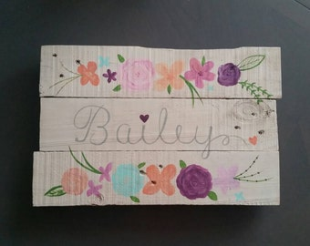 Personalized wood sign with girls name and handpainted flowers