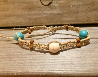 Women's Hemp Bracelet with Blue and White Turquoise Beads