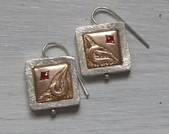 Hanging earrings - pure nostalgia Rotgold585er 925 he silver and Garnet