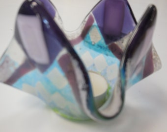 Fused glass blue & purple votive holder