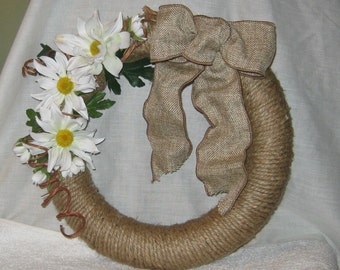 Jute wrapped wreath.