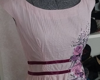 Clean, Vintage, 1950's, Karen Stark for Harvey Berin, Pink, Lavender, Sleeveless, Cotton Dress, Bust 38
