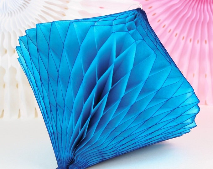 Turquoise Tissue Paper Honeycomb Diamond  // Party Decoration for Birthday or Wedding, Bridal or Baby Shower // Photo Prop or Backdrop