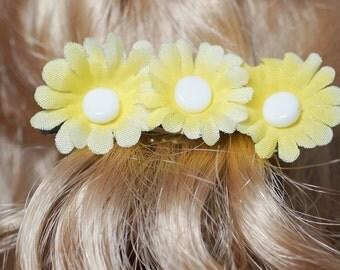 girls 50 mm yellow daisy french barrette