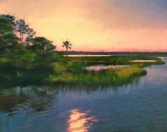 Marsh Art Coastal Sunset, Marsh landscape,  Coastal Art Print, Beach House, Coastal Decor, Marsh Painting, Beach Cottage Art, Nautical Decor