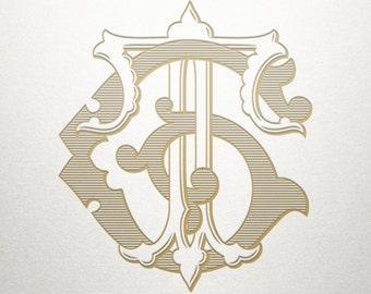 Vintage Digital Monogram - GT TG - Digital Monogram - Custom