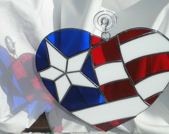 Patriotic 4th of July Stained Glass Heart - Red White & Blue