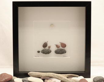 Pebble art picture, Pebble art bird, Family of four birds.