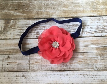 Coral & Navy Blue Headband, Coral Headband, Coral and Navy, Baby Headband, Infant Headband, Baby Girl Headband, Newborn Headband, Headband