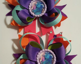 Monsters Inc Girls Hair Bows.  Set of 2