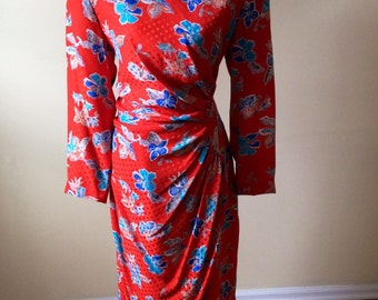 Julie Francis dress/ vintage 1980s dress/ silk dress