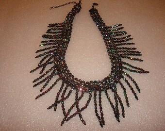 Black Rainbow Colored Beaded Bib Necklace