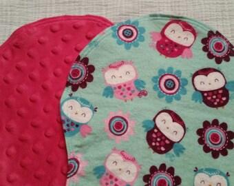 The Official b.Burpie Pink Owls Baby Girl Burp Cloths Set of 2