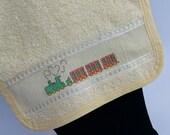 Baby bib-cross stitch bib-handmade train bib-cotton bib-baby gift-baby shower gift-hand embroidered-cross stitch-green and orange train bib