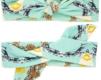 Adjustable Mint Headwrap Topknot