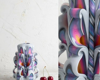 Decorative candles, Carved candles, Rainbow candle, Carved candle, Romantic candles, Ladys gifts, Vanity lighting, Wall candle holder