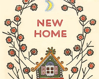 New Home, Ginger-bread, Folk Fairytale House Greeting Card