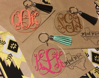 "3"" Vine Monogram Keychain With Tassel"