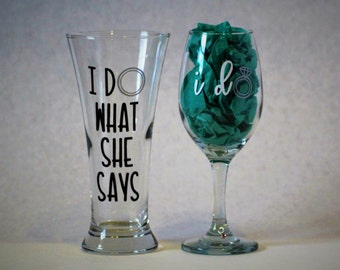 Bride and Groom Glassware Set