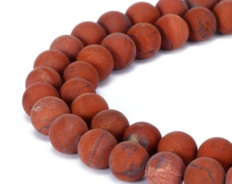 Matte Round Well Polish Red Jasper Gemstone Loose Beads 15.5 Inch per Strand, Size 6mm/8mm/10mm/12mm. R-M-JAS-0192