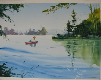 Fishing watercolor painting, Fishermen painting, landscape watercolor, signed original painting, lake, pond, river, gift for fisherman, #88