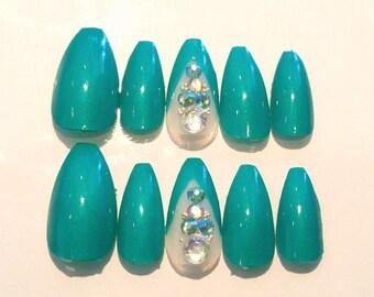Teal Coffin Nails!  press on nails, fake nails, artificial nails, stiletto nails, coffin nails, rhinestones