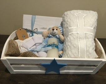 Christening Gift Set with Embroided Blanket