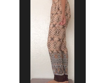 Vintage Ellen Tracy Loose Pants • Bohemian Printed Brown Pants Size XS