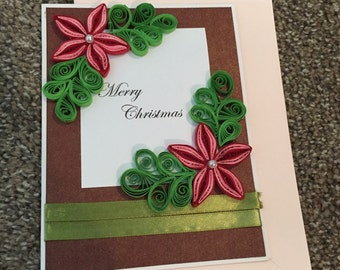 Red quilled flower Merry Christmas greeting card