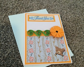 Thank you greeting card with orange quilled flower